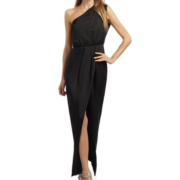 French CONNECTION maxi one shoulder dress w slit